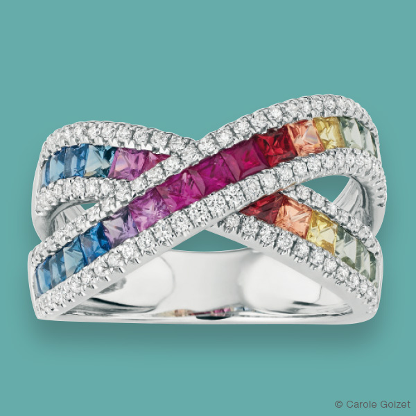 Bague « Arc en Ciel » Or gris, diamants et saphirs multicolores