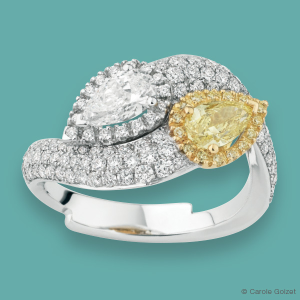 Bague « Enlacée Jonquille » Or gris, diamants blancs et diamants jaunes