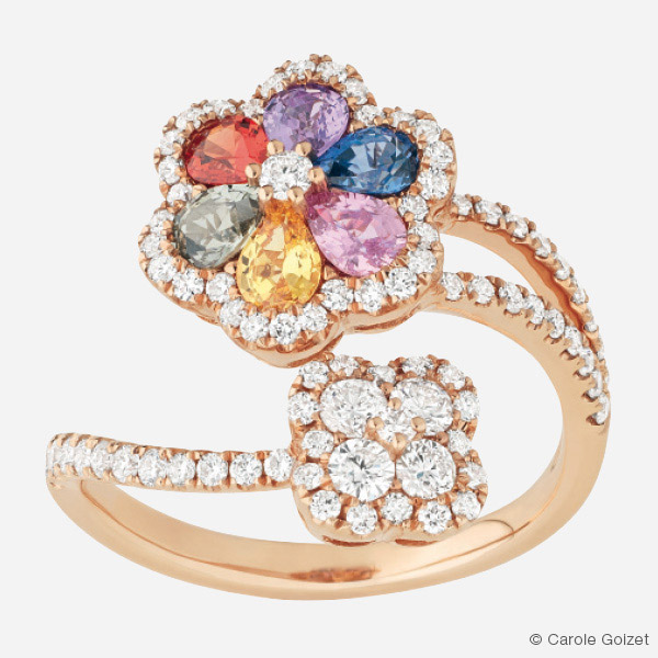 Bague « Printemps Fleuri » Or rose, diamants et saphirs multicolores