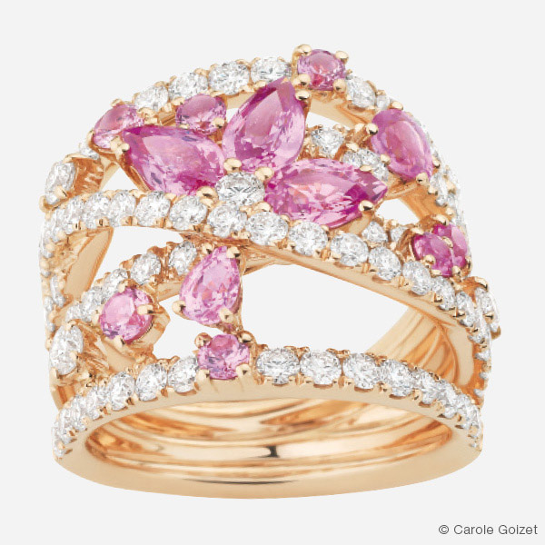 Bague « Venise » Or rose, diamants et saphirs rose
