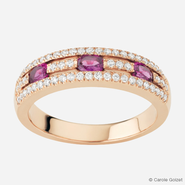 Bague « Birmane » Or rose, rubis et diamants