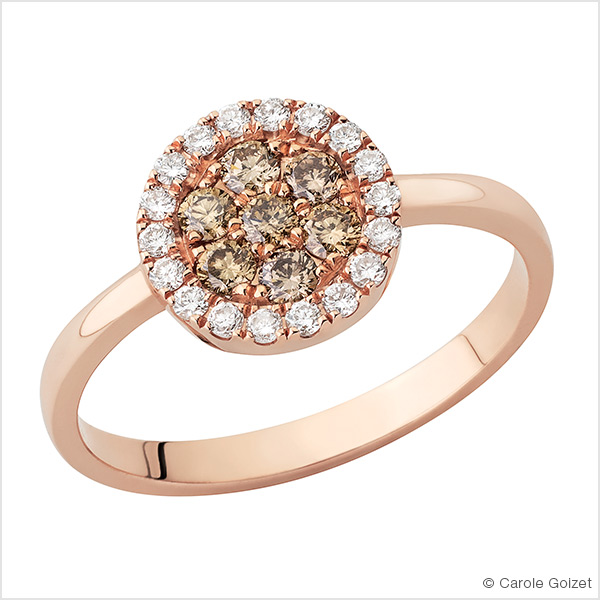 Bague « Champagne » Or rose, diamants et diamants champagne