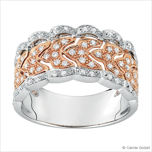 Bague « Luxuriante » Or blanc et rose et diamants