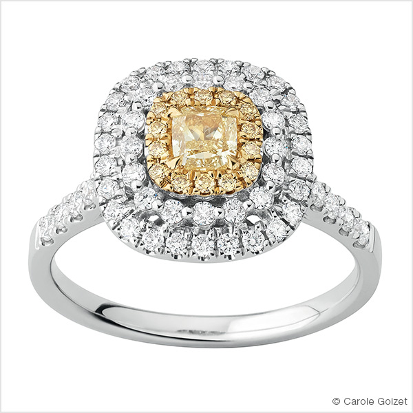 Bague « Mimosa » Or blanc, diamant jaune et diamants blanc