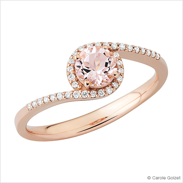 Bague « Nude » Or rose, morganite et diamants