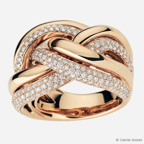 Bague « Tresse Scintillante » Or rose et diamants