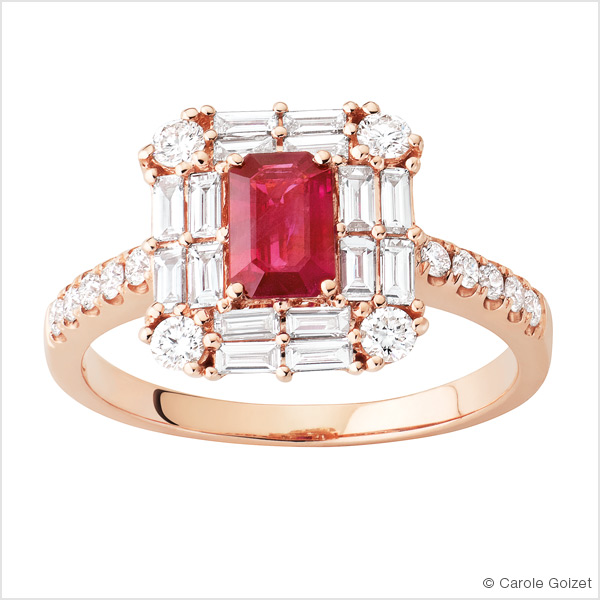 Bagues « Régence » Or rose, Rubis diamants