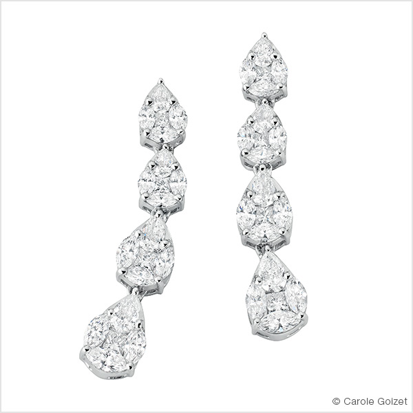 Boucles d'oreilles « White lady » Or blanc et diamants