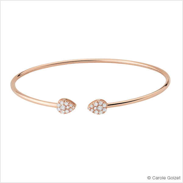 Bracelet jonc « Champagne » Or rose et diamants