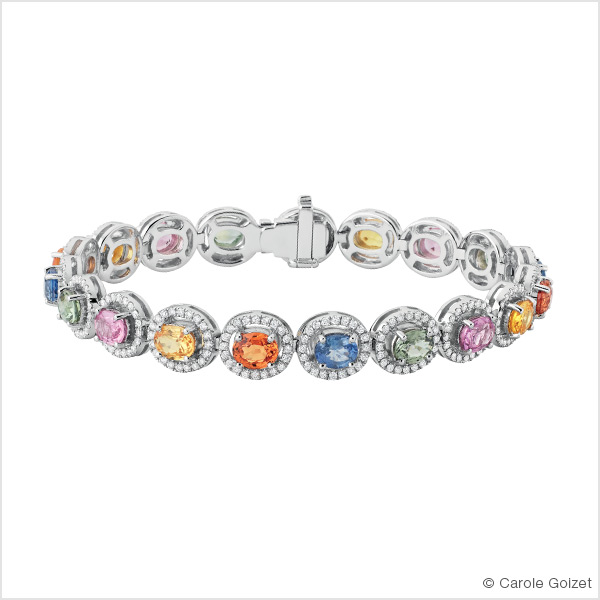 Bracelet «  Tutti Frutti » Or blanc, saphirs de couleurs et diamants