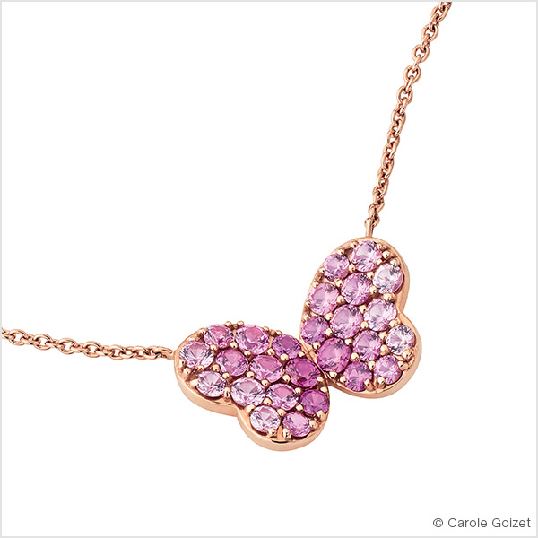 Collier « Butterfly » Or rose, saphirs roses et diamants.