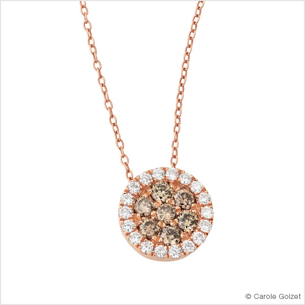 Collier « Champagne » Or rose, diamants et diamants champagne