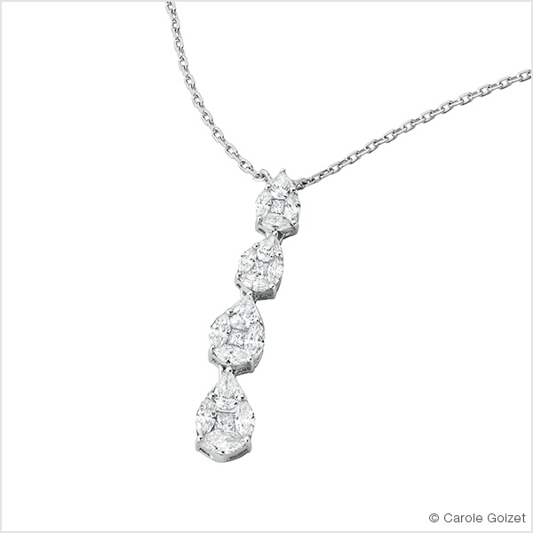 Collier « white lady »	Or blanc et diamants
